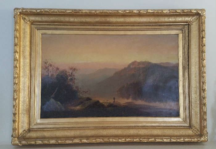 Early oil on canvas. Mountainous landscape with figure. Unsigned.