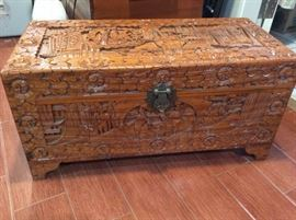 PAC006 Vintage Carved Wooden Chest Surprise Lot