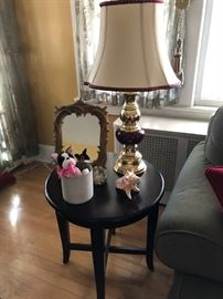 Side Table, Lamp, Mirror