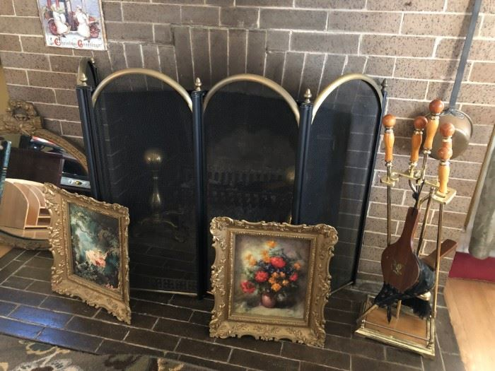 Fireplace Screen, Tools, Andirons, Pictures