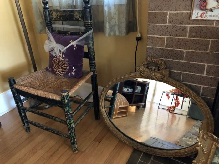 Mirror, Rushed Seat Chair