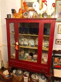 Red Display Cabinet Curio Cupboard Kitchen China Hutch Drawer Doors Glass Wood