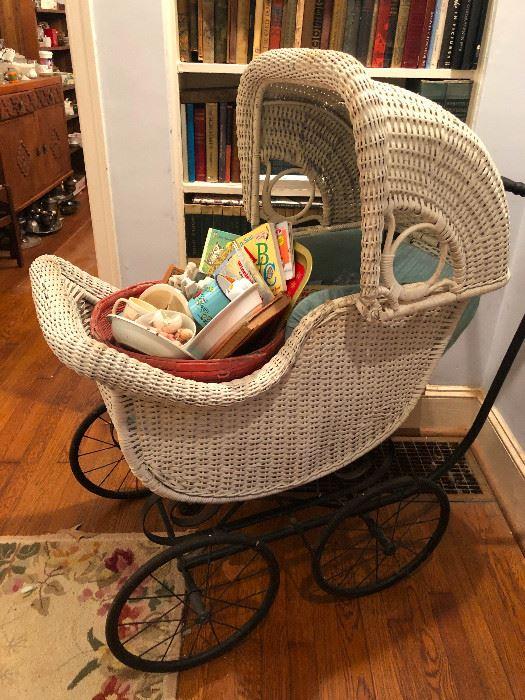 Antique wicker baby carriage English pram
