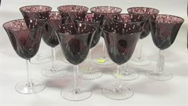 Silver overlay amthyst glass goblets