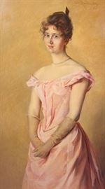 Large portrait oil on canvas of a woman in formal pink dress. Signed upper right O.W. Roederstein