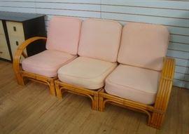Post War 4-Strand Rattan Sectional Sofa