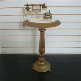 Frenchy Marble top Brass Side Table with a real Landline Telephone