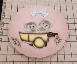 1950s Bisque Kitten Nursery Wall Plate