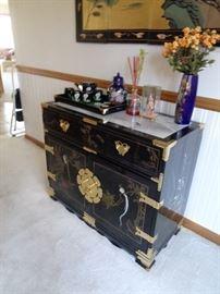 oriental buffet/sideboard w/marble top