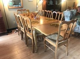 Unique One of a Kind Oak Table and 8 Chairs