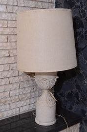 Stone urn lampsx2 27 in base 42 in with shade stone is 9 in across lampshade is 19 across $150 ea