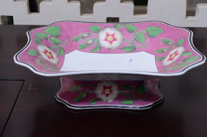 """Wedgewood """"pearl"""" pattern pedestal bowl 10 in by 8.5 in pink and green $12"""