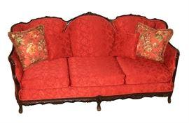 Lot 28 - Antique Victorian Sofa with Mahogany Trim
