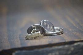 Sterling silver cufflinks & men's band