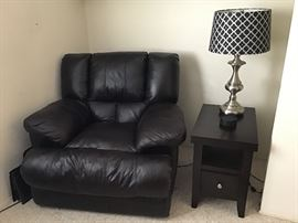 Electric oversized leather wall hugging recliner. Like new!
