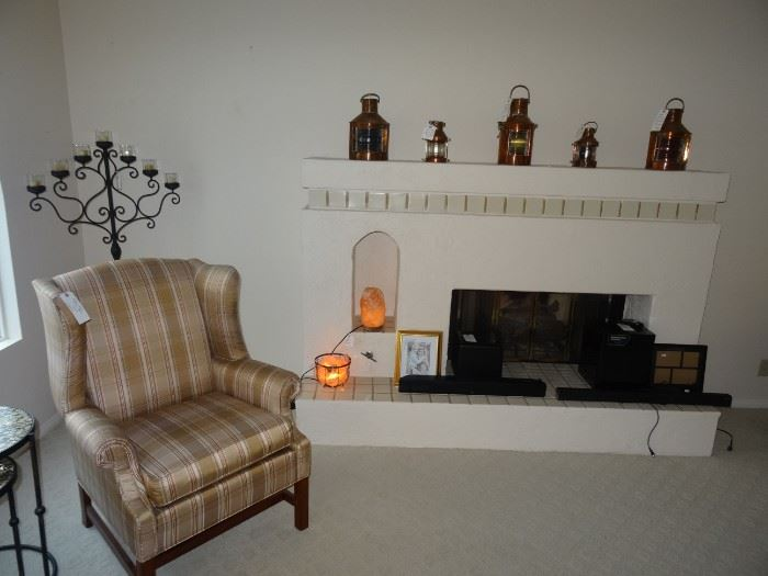 Antique nautical brass lamps, salt lamps and sound bars