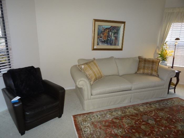 Pottery Barn sofa, Pottery Barn leather chair