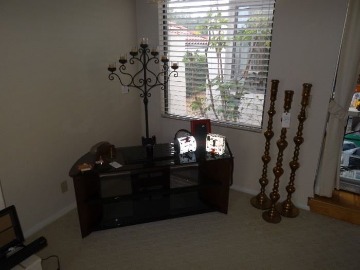 tall iron candelabras, Wyoming license plate purses with swarovski crystals , nice entertainment stand