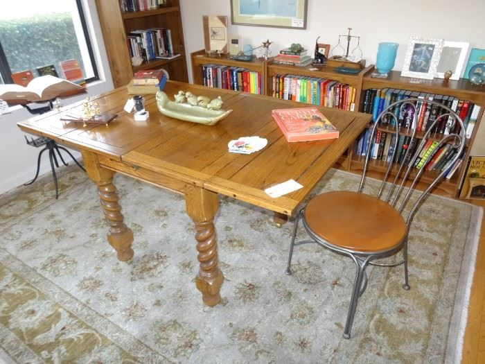 English pub table with barley twist legs fold square for space.  Antique book/bible stand. plenty of bookcases and books