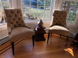 Pair of Restoration Hardware Tufted Back Side Chairs, Crate & Barrel Pedestal Table (1 of 2)