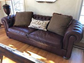 Natuzzi Leather Sofa w/ TuftedBack & Arms