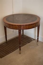 Leather Top Side Table with Inlay