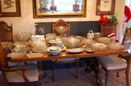 Dining room table/chairs; beautiful mirror; owl prints; dishes of all kinds