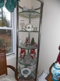 2 nice round glass display shelves