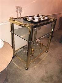 Great vintage brass/glass serving cart