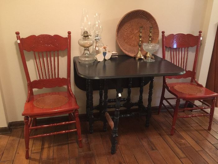 gate leg table, painted chairs