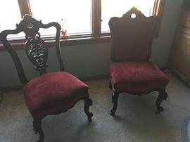 A set of two Victorian parlor chairs in fantastic shape!