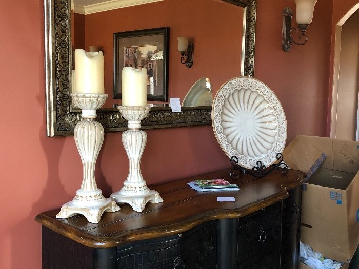 Various Accessories and Mirror, Thomasville sideboard