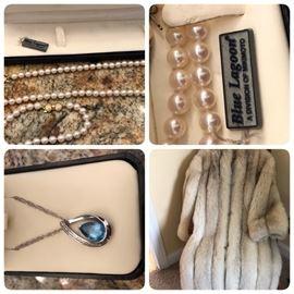 Blue Lagoon pearl necklace and bracelet, BlueTopaz set, Full length Fox coat