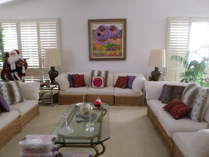 Rattan Couches with Custom Ivory Upholstery,