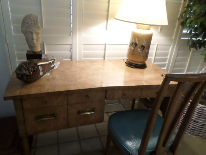 Mid-Century Burl wood desk , 1950's from Greene & Hinkle Furniture Corner of Wilshire & Clark  in Beverly Hills, 1950's original building still standing.  Desk & Chair excellent condition.