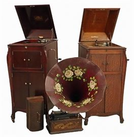 "2 Victor Floor Model Victrolas,  Style ""VV-XI"",  Thomas A.  Edison Cylinder Phonograph"