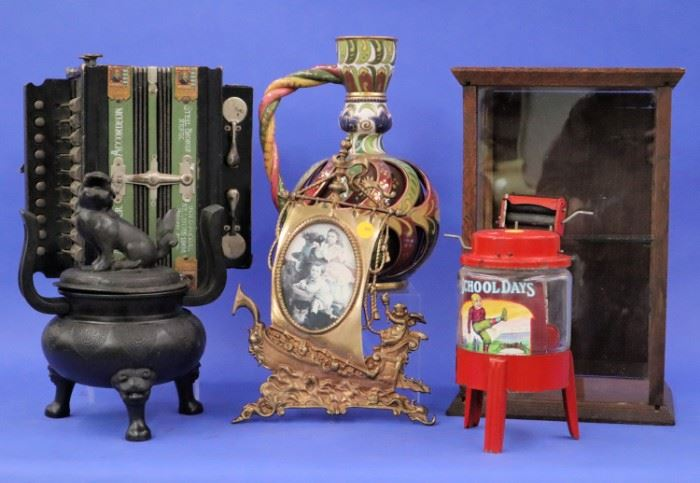 Glass Showcase, Japanese Censor, Hohner Accordion, miniature Washer, Majolica Ewer, Brass Frame