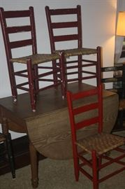 DROP LEAF TABLE ~ RED PRIMITIVE CHAIRS