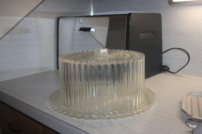 VINTAGE PLASTIC  CAKE HOLDER + CHROME BREAD BOX