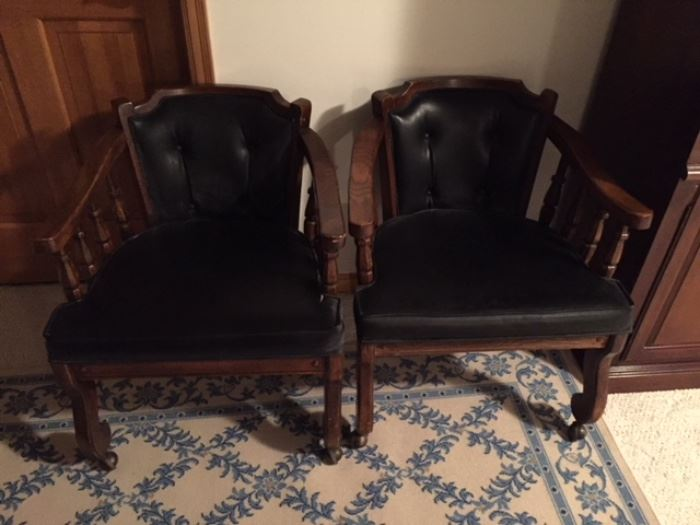 Set of Wood and Leather Chairs.