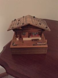 Wooden Chalet Type Music Box.