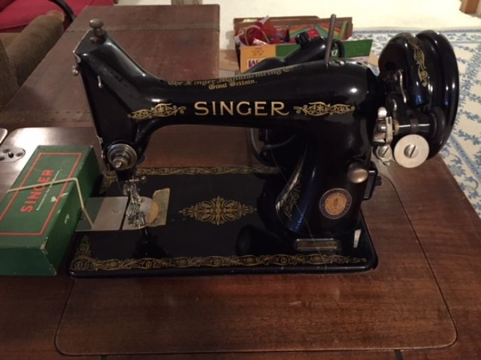 Antique Singer Sewing Machine and Accessories.