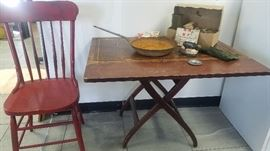 antique drop leaf table and chair