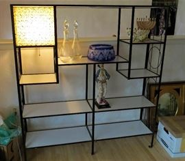 Mid Century shelving unit with built in lamp
