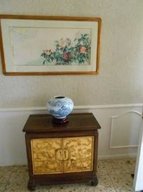 Solid  Asian wood cabinet.  Watercolor, vase