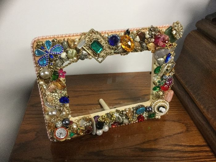 Jewelry decorated frame...these are one of a kind