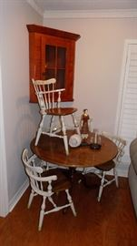tilt top table and 4 white tole painted Ethan Allen chairs