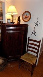 antique chair and corner cabinet