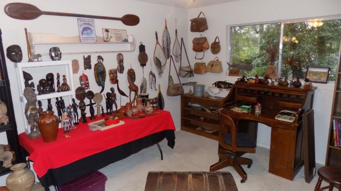 Soo many collectibles...fishing, Tribal art, pottery and more