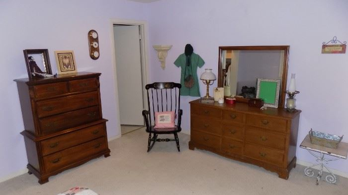 Sumtner chest of drawers....Bassett double dresser with mirror...black tole rocking chair